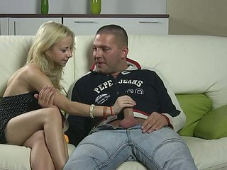 Unexperienced blonde girl Choky White in foreplay with horny guy