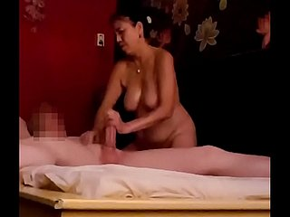 Gentle and pleasing handjob after massage